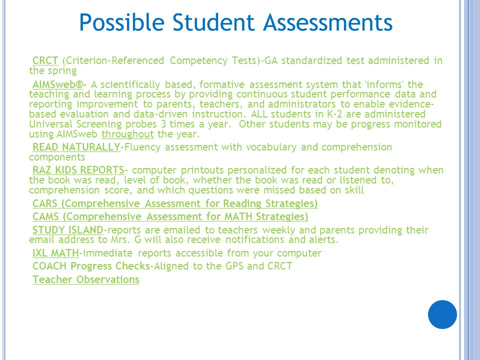 Possible Student Assessments
