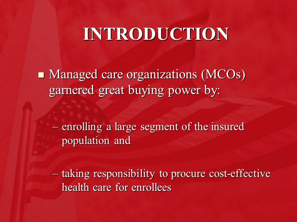 An introduction to the types of managed care organization