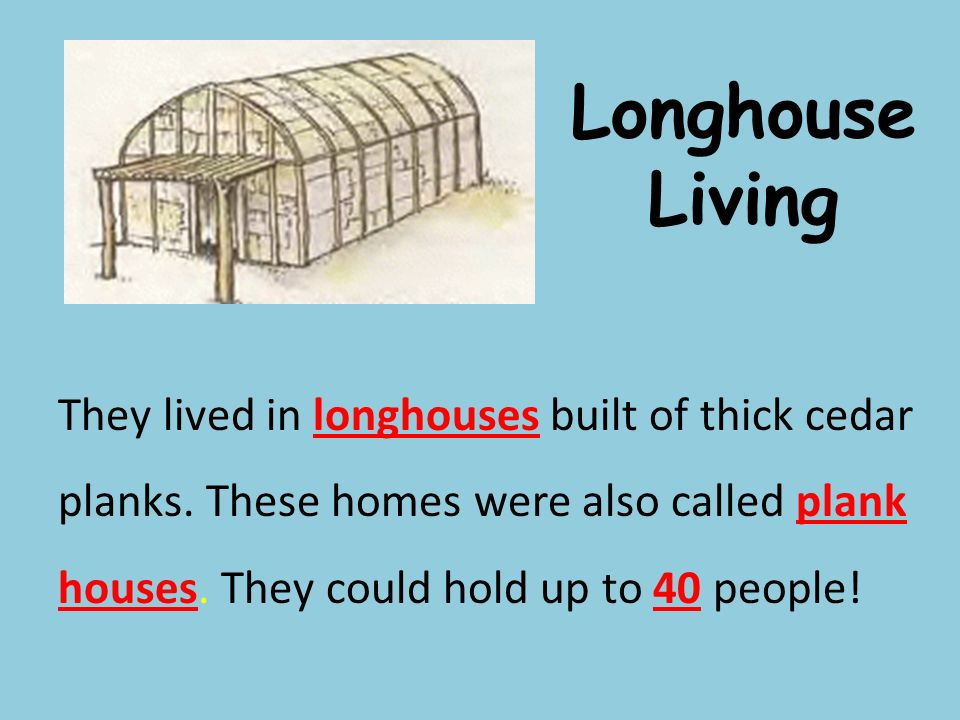 Longhouse Living They lived in longhouses built of thick cedar planks.