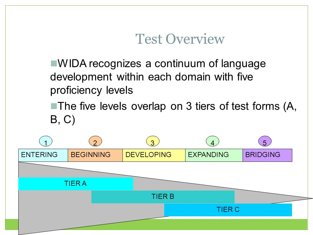 Test Overview WIDA recognizes a continuum of language development within each domain with five proficiency levels.