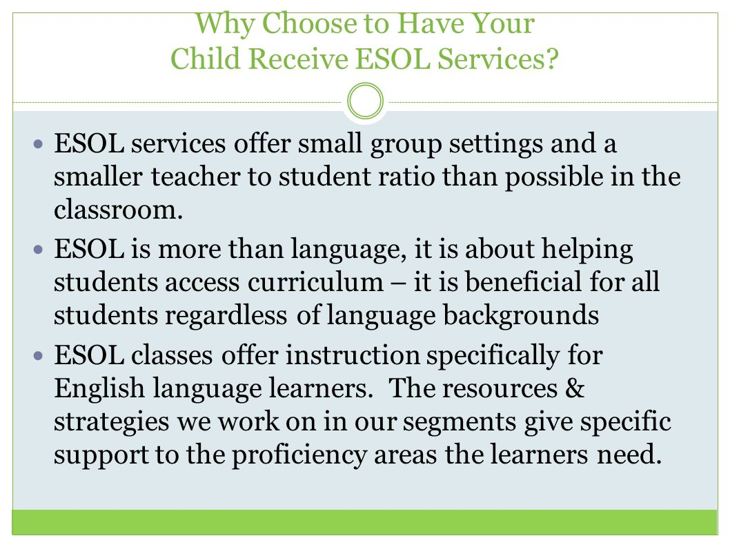 Why Choose to Have Your Child Receive ESOL Services