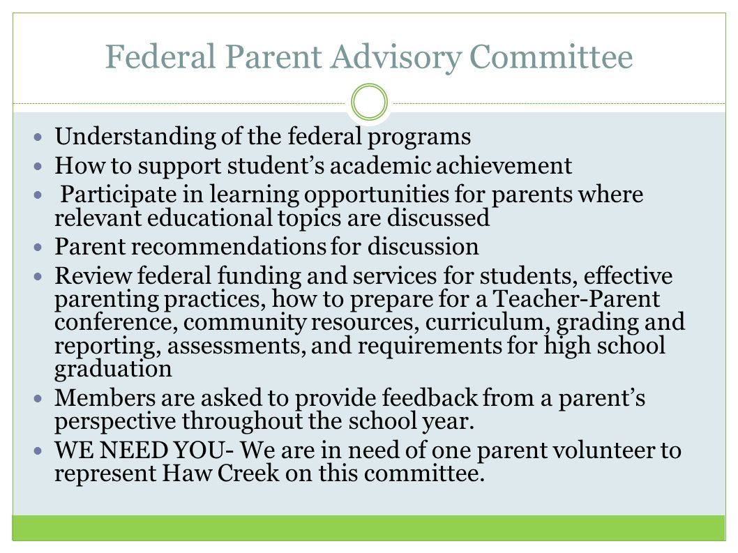 Federal Parent Advisory Committee