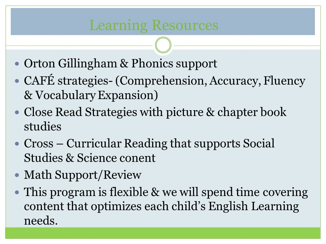 Learning Resources Orton Gillingham & Phonics support