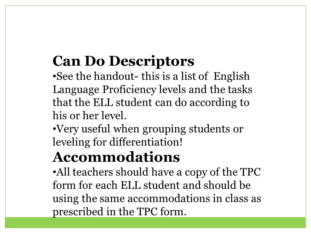 Can Do Descriptors Accommodations