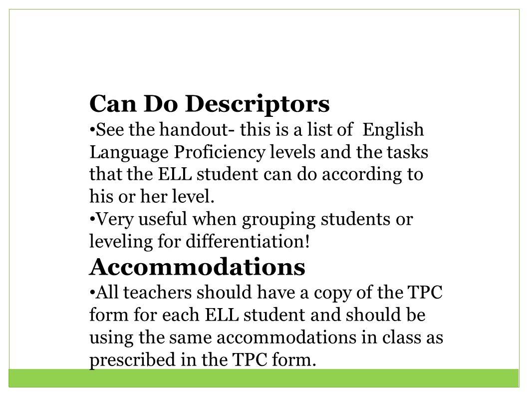 Can Do Descriptors Accommodations