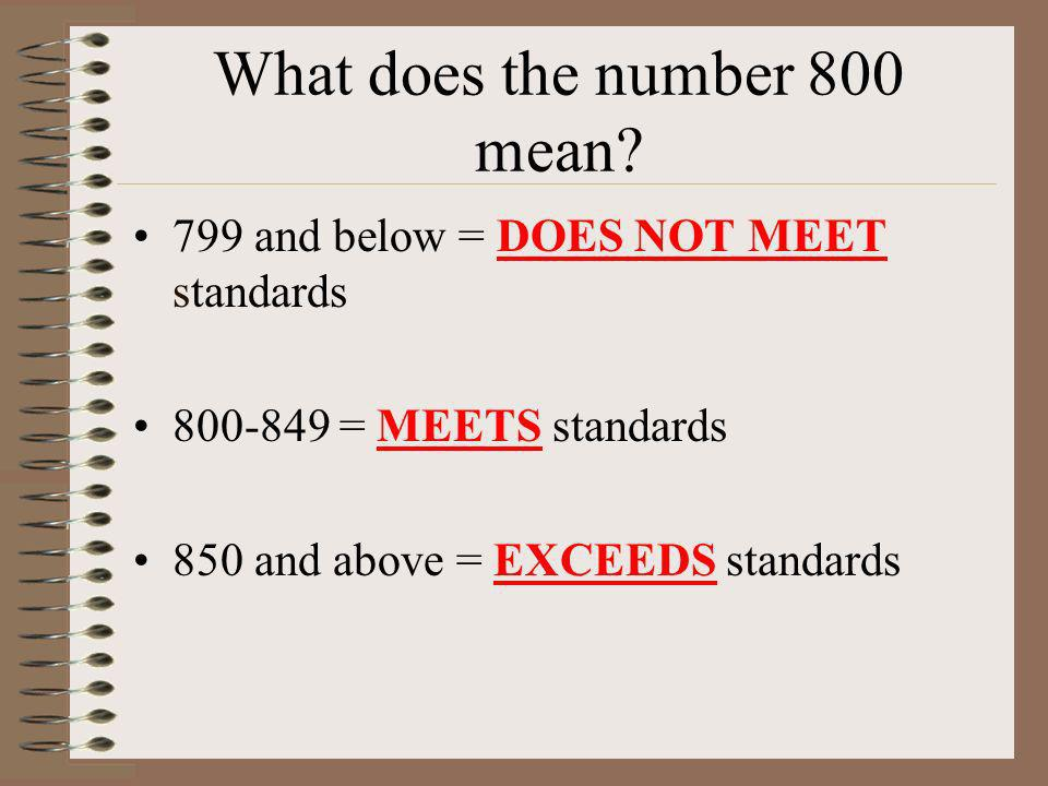 What does the number 800 mean