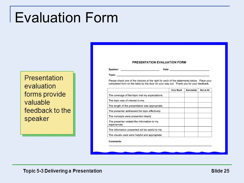 Speaker Evaluation Form. Self-Coaching Objectives 5 Using The