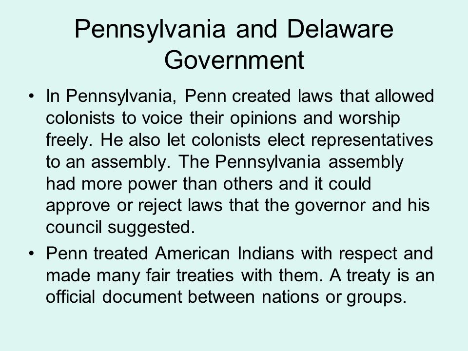 Pennsylvania and Delaware Government