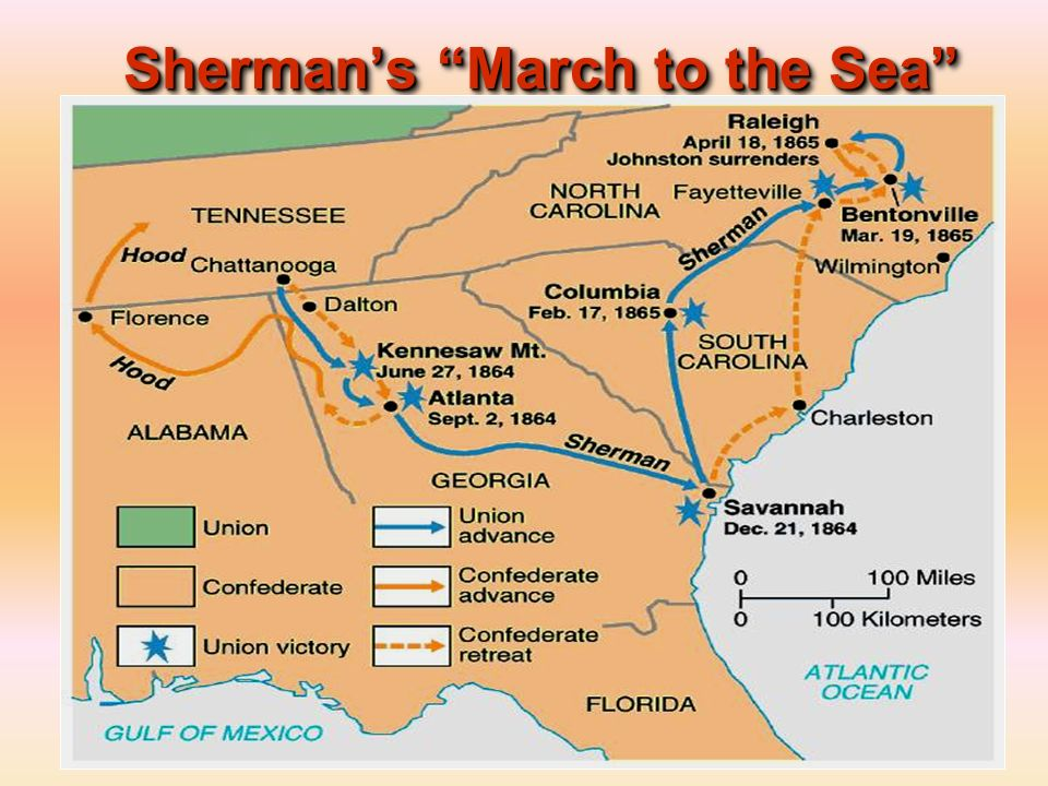 sherman s march to the sea Sherman's march to the sea was inconceivable to the american military in 1861 governmental policy towards civilians in the various theaters of operation changed drastically between the fall of fort sumter in april, 1861, and the spring of 1864.