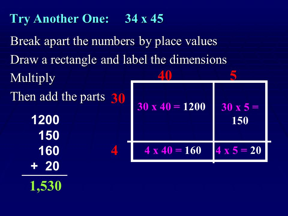 Try Another One: 34 x 45 Break apart the numbers by place values. Draw a rectangle and label the dimensions.