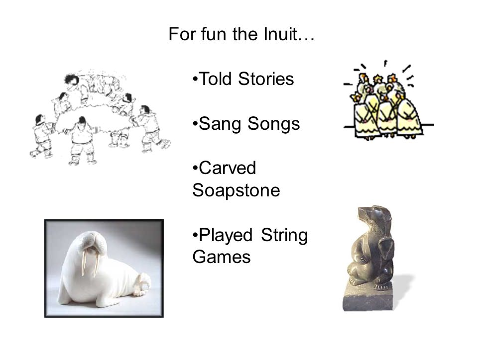 For fun the Inuit… Told Stories Sang Songs Carved Soapstone Played String Games