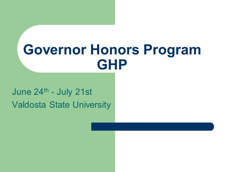 Governor Honors Program GHP
