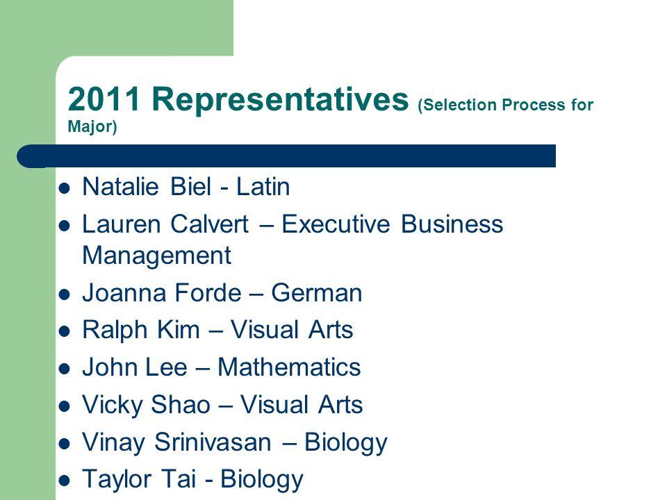 2011 Representatives (Selection Process for Major)