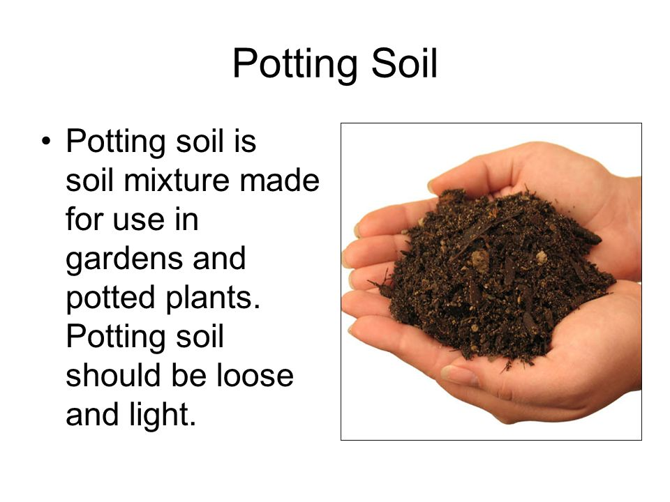 Potting Soil Potting soil is soil mixture made for use in gardens and potted plants.