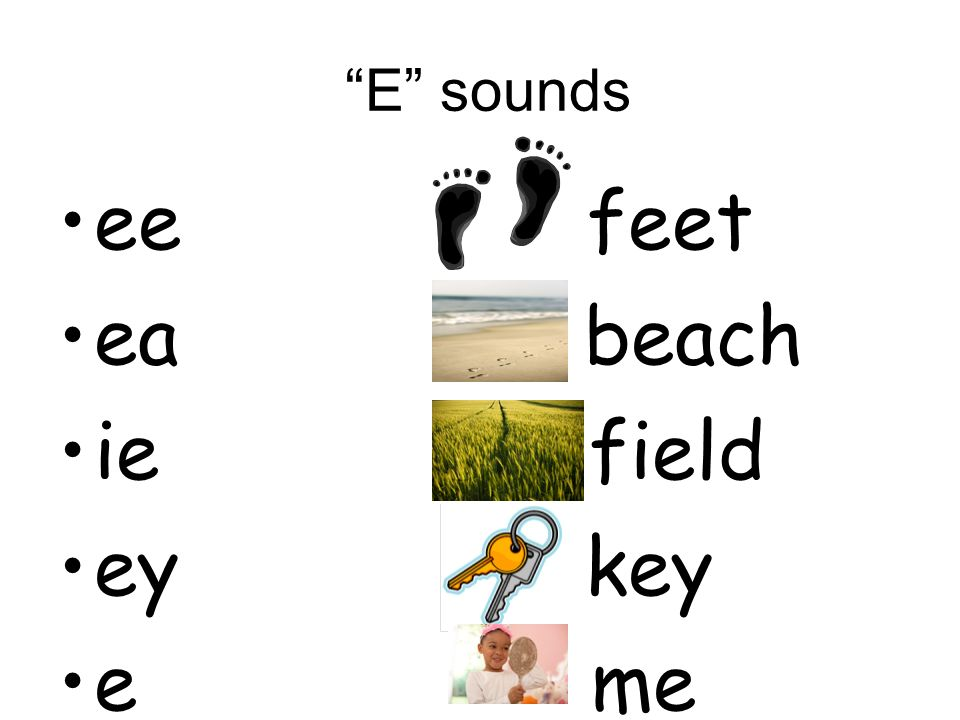 E sounds ee feet. ea beach. ie field. ey key.