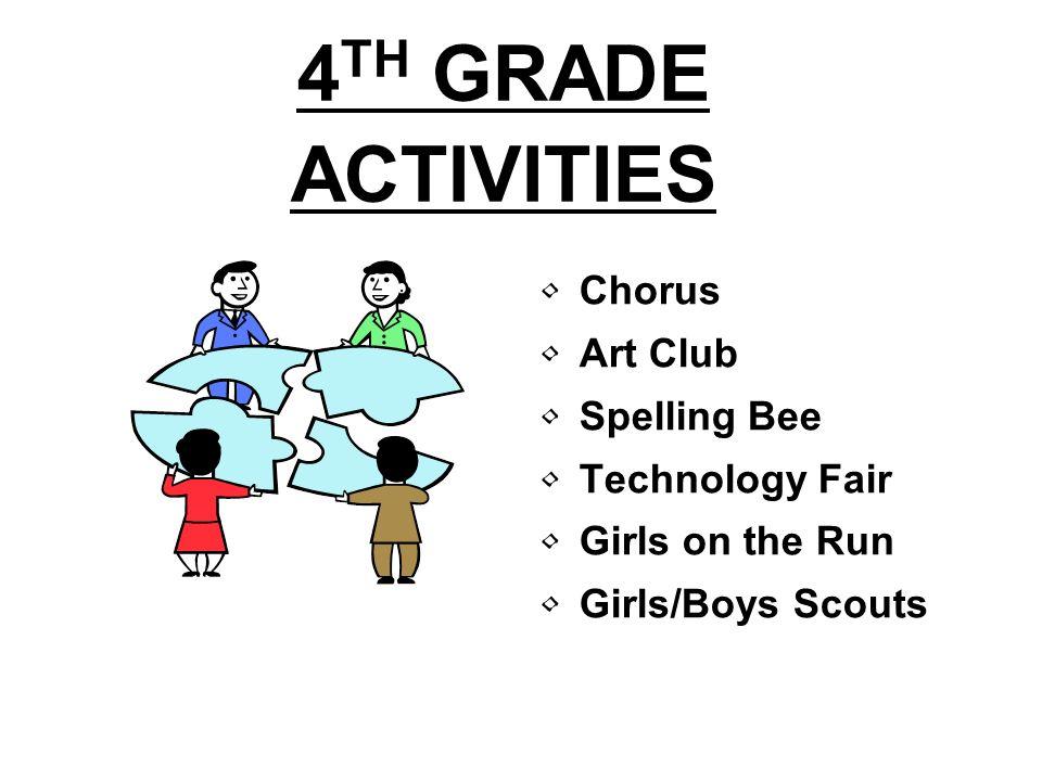 4TH GRADE ACTIVITIES Chorus Art Club Spelling Bee Technology Fair