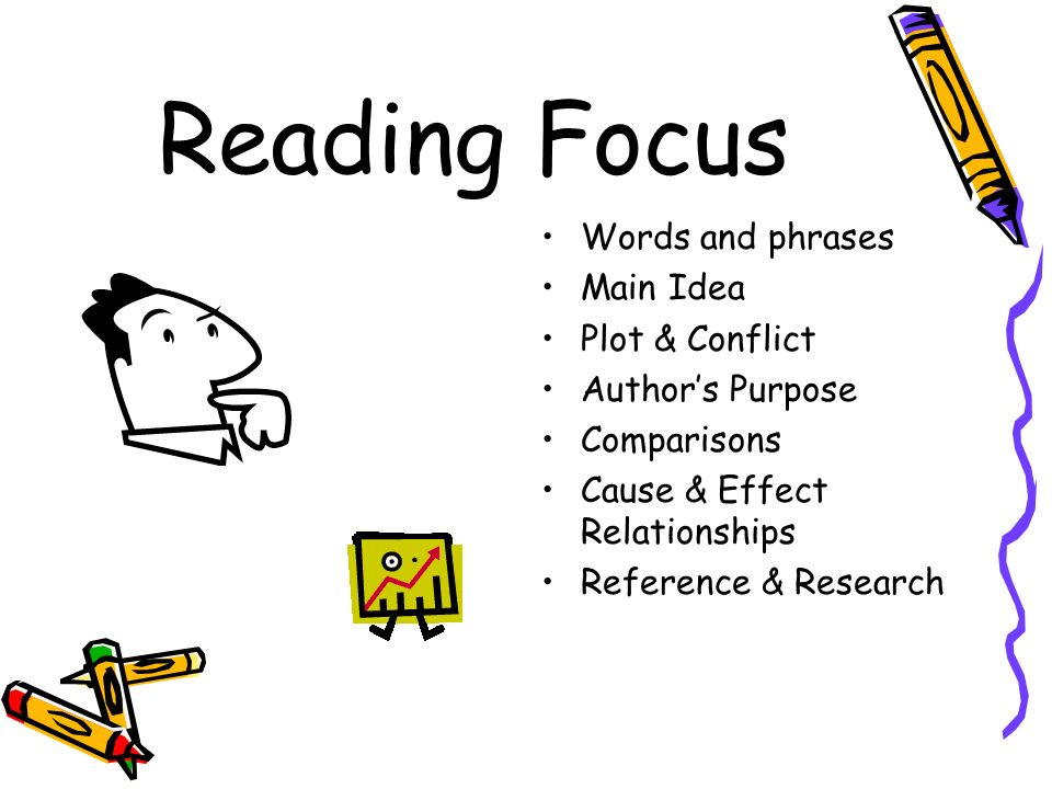 Reading Focus Words and phrases Main Idea Plot & Conflict