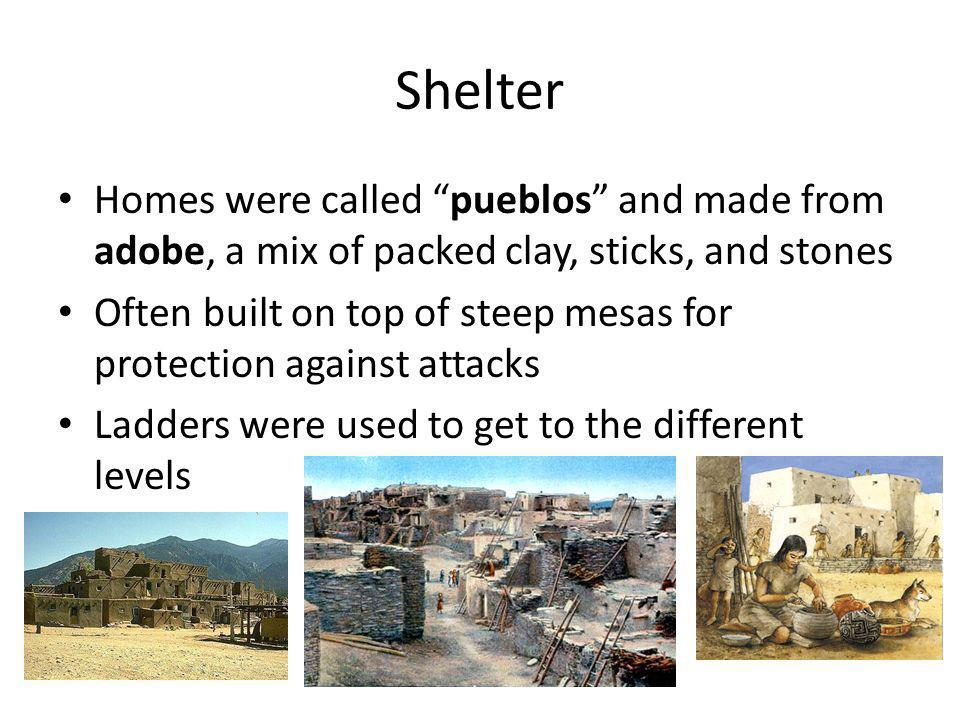 Shelter Homes were called pueblos and made from adobe, a mix of packed clay, sticks, and stones.