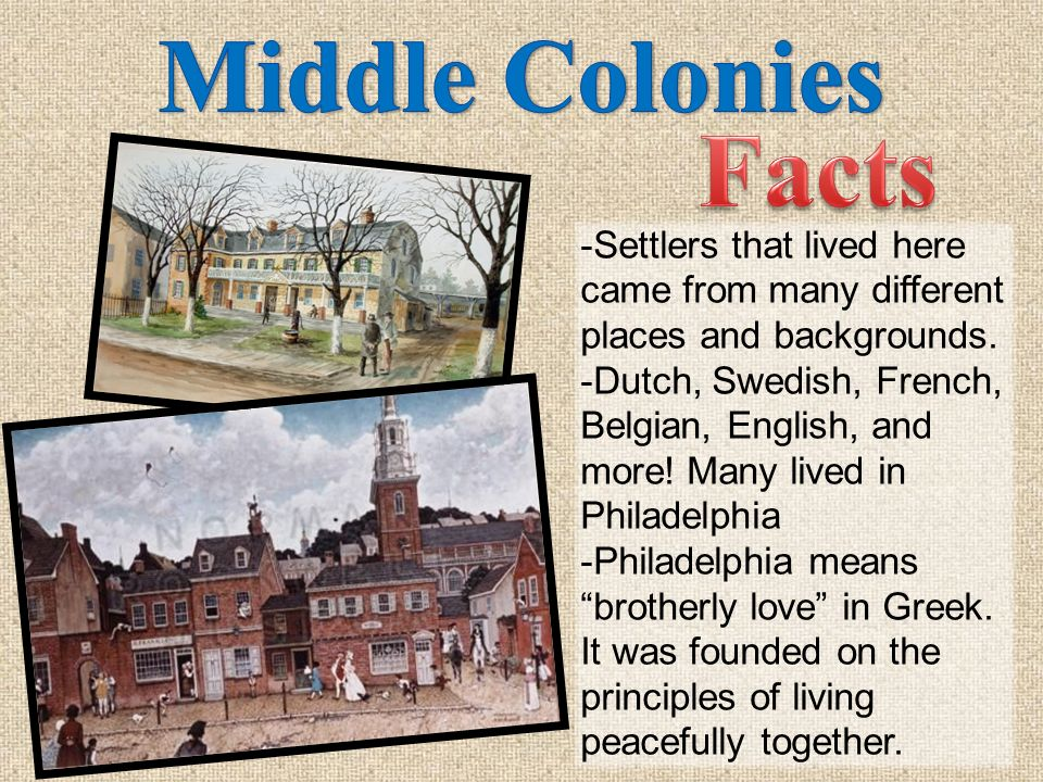 Middle Colonies Facts. -Settlers that lived here came from many different places and backgrounds.