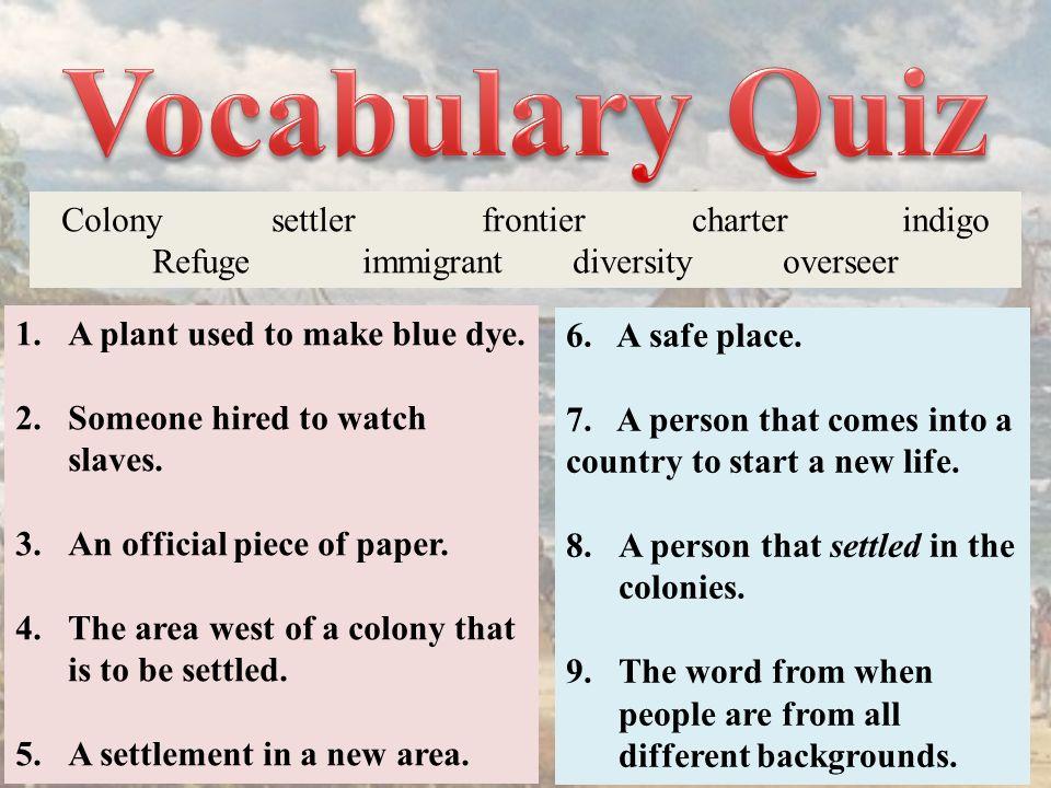 Vocabulary Quiz Colony settler frontier charter indigo