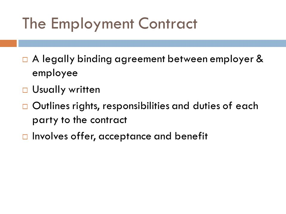 The Employment Contract  Ppt Video Online Download