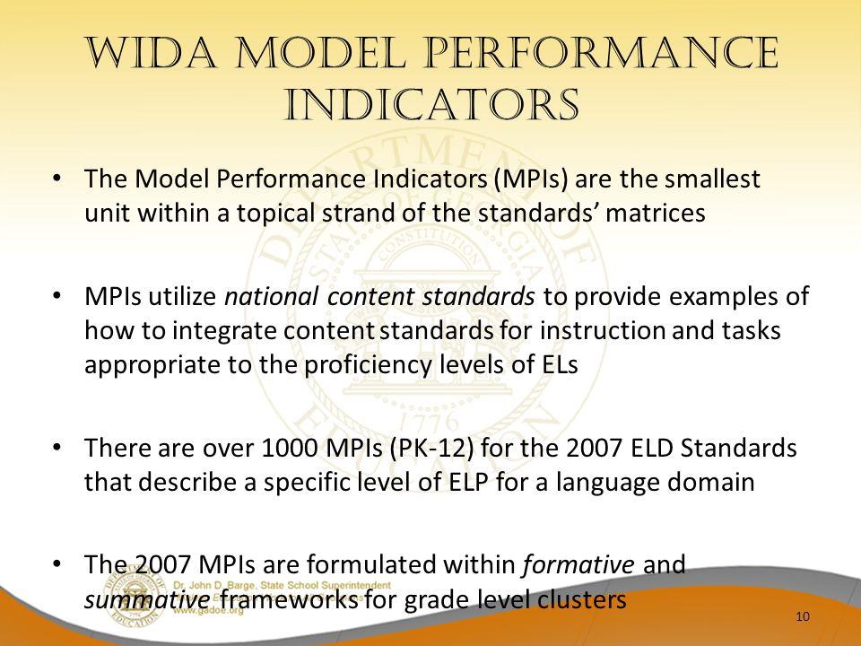 WIDA Model Performance indicators