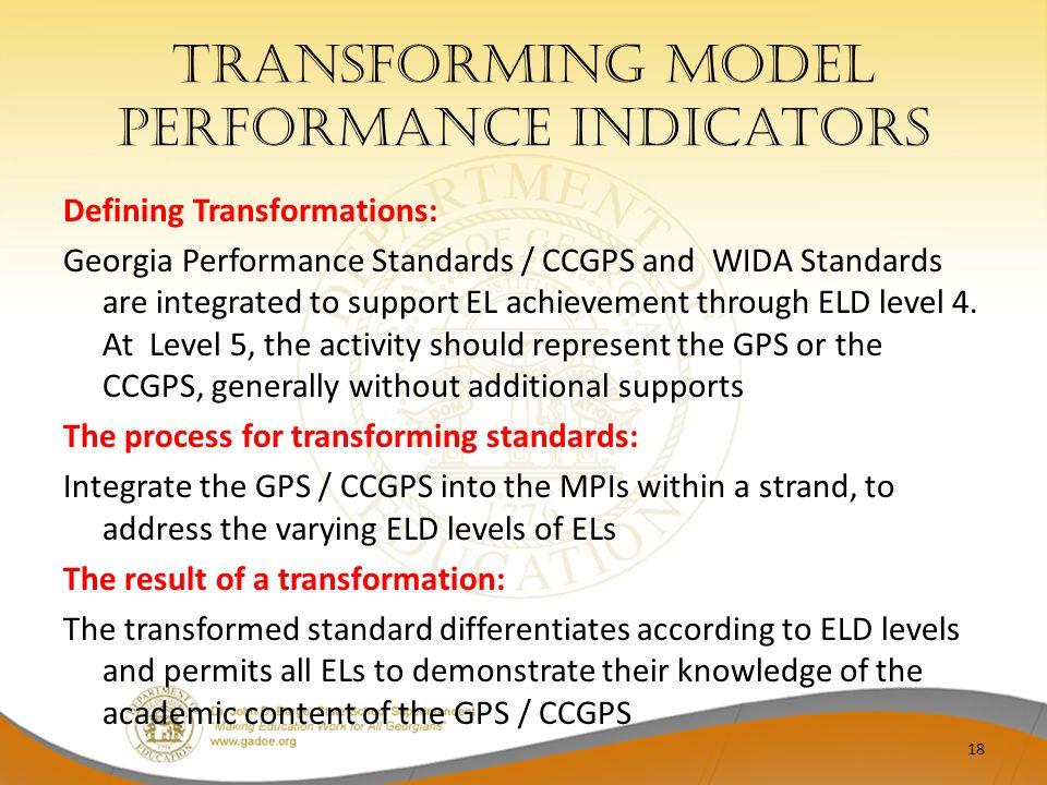 Transforming Model Performance indicators