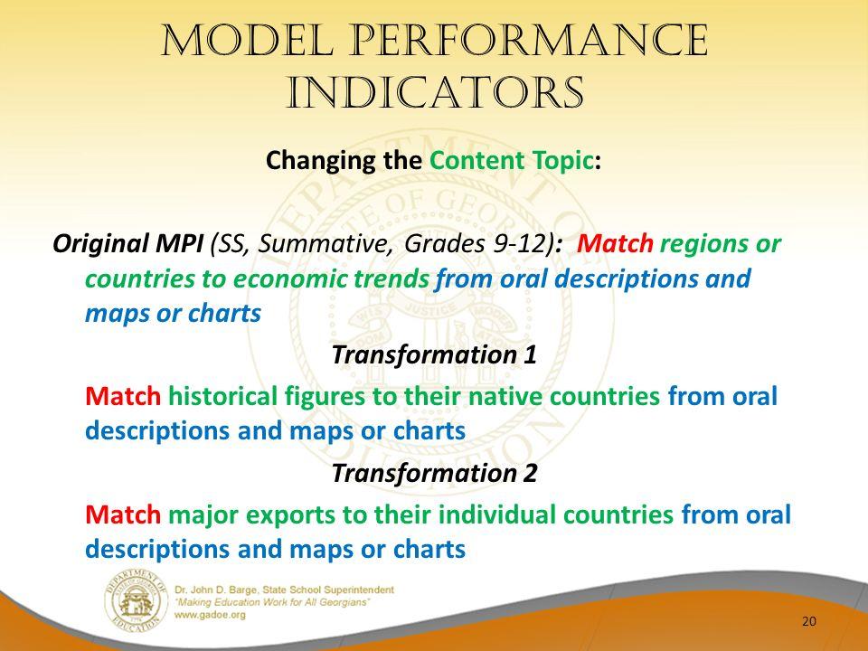 Model performance indicators