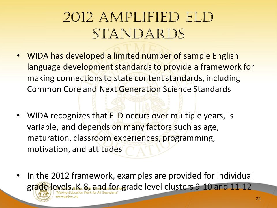 2012 Amplified ELD Standards
