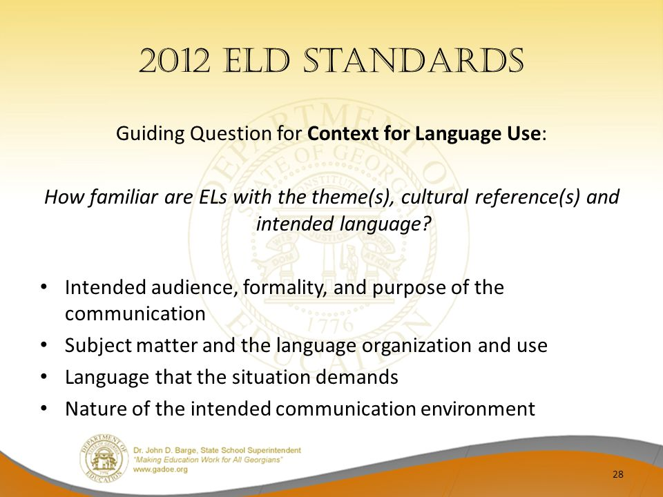Guiding Question for Context for Language Use: