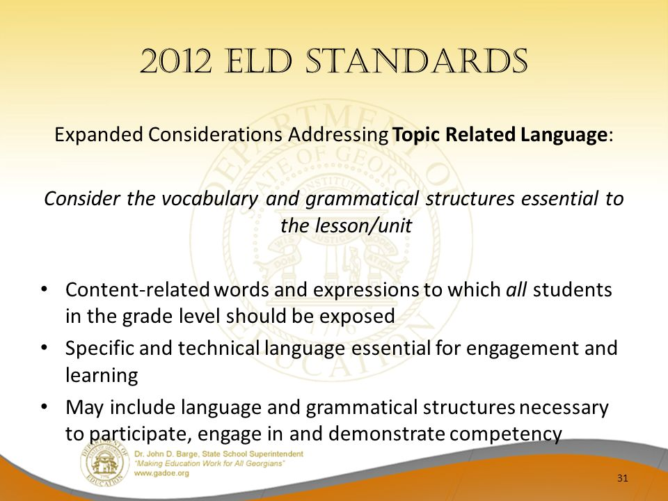 Expanded Considerations Addressing Topic Related Language: