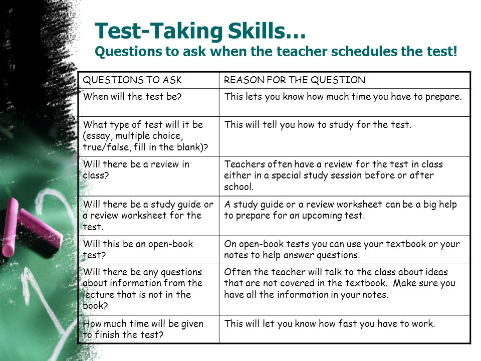 Test-Taking Skills… Questions to ask when the teacher schedules the test!