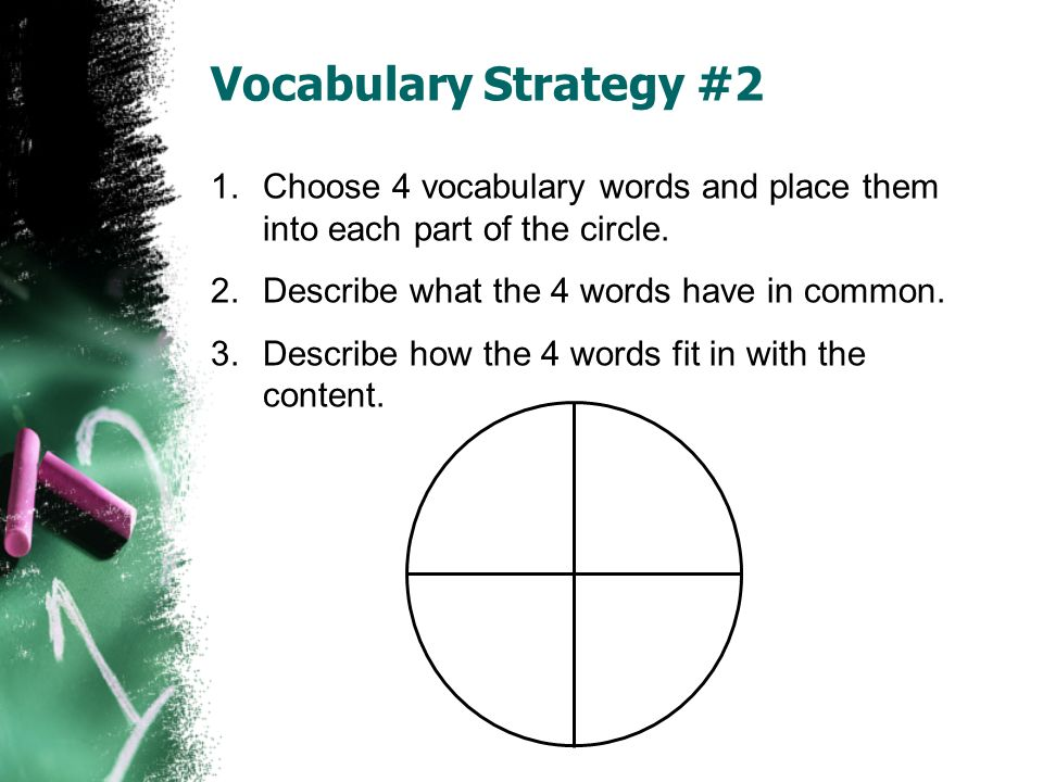 Vocabulary Strategy #2 Choose 4 vocabulary words and place them into each part of the circle. Describe what the 4 words have in common.