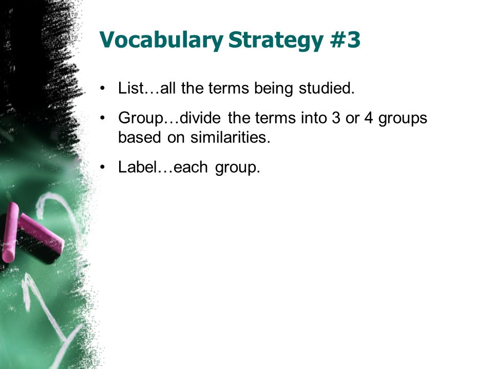 Vocabulary Strategy #3 List…all the terms being studied.