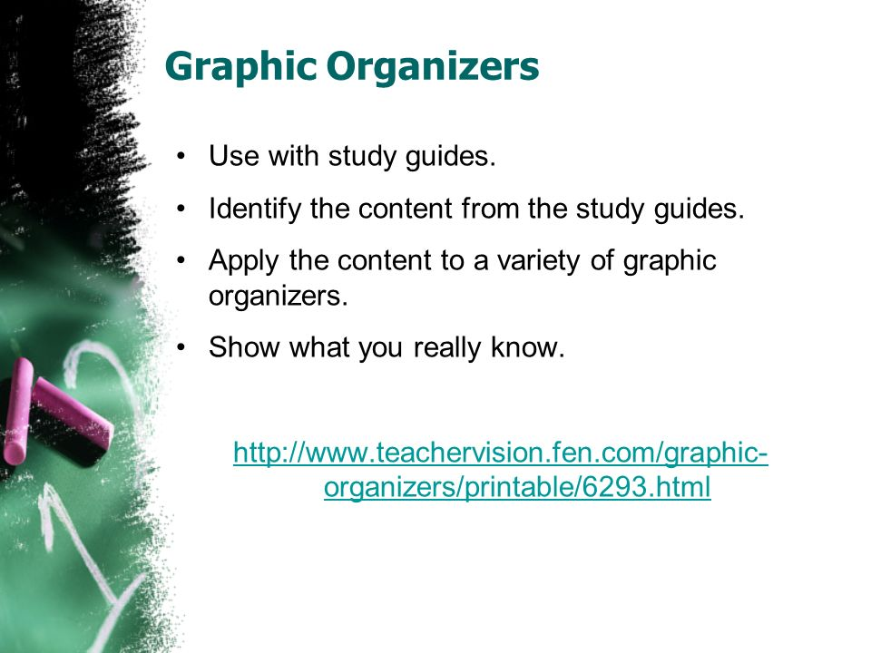 Graphic Organizers Use with study guides.