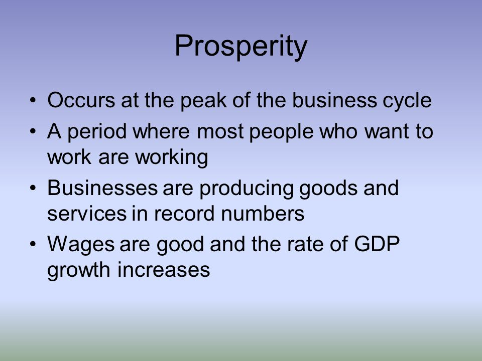 Prosperity Occurs at the peak of the business cycle