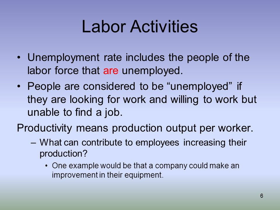 Labor Activities Unemployment rate includes the people of the labor force that are unemployed.