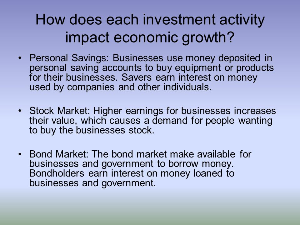 How does each investment activity impact economic growth