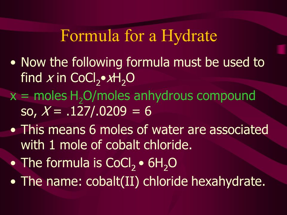 Sec. 10.5: The Formula for a Hydrate - ppt video online download