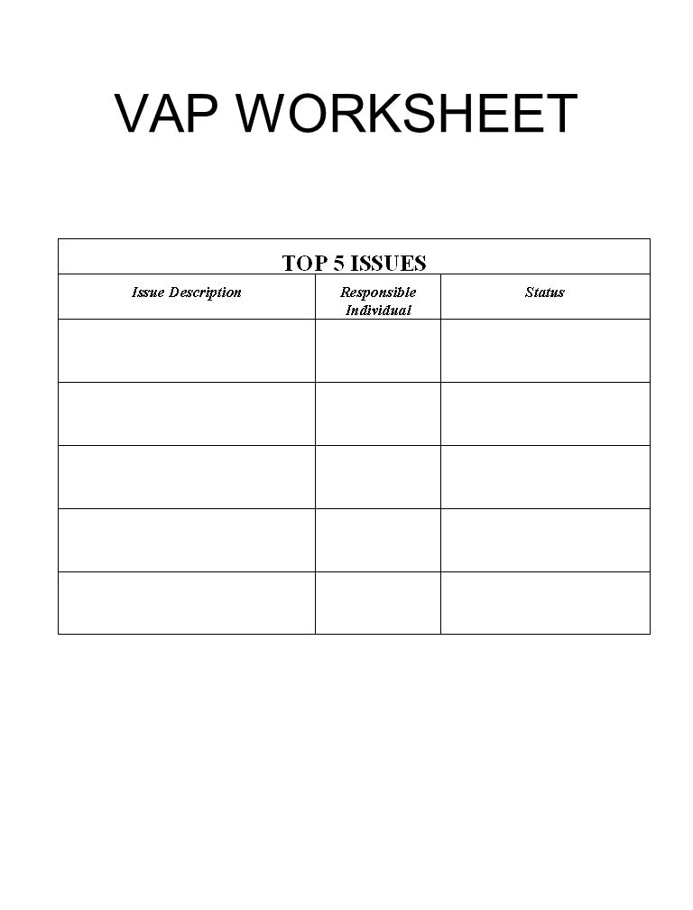 VAP WORKSHEET
