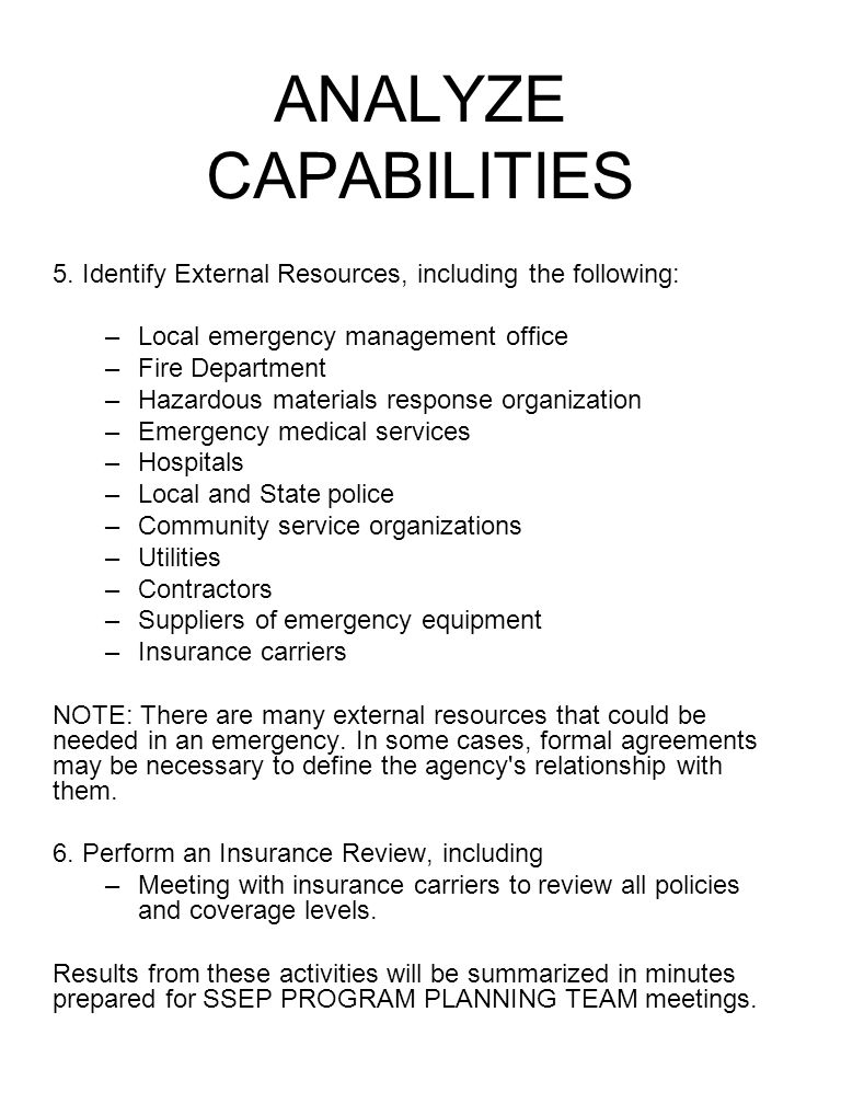 ANALYZE CAPABILITIES 5. Identify External Resources, including the following: Local emergency management office.