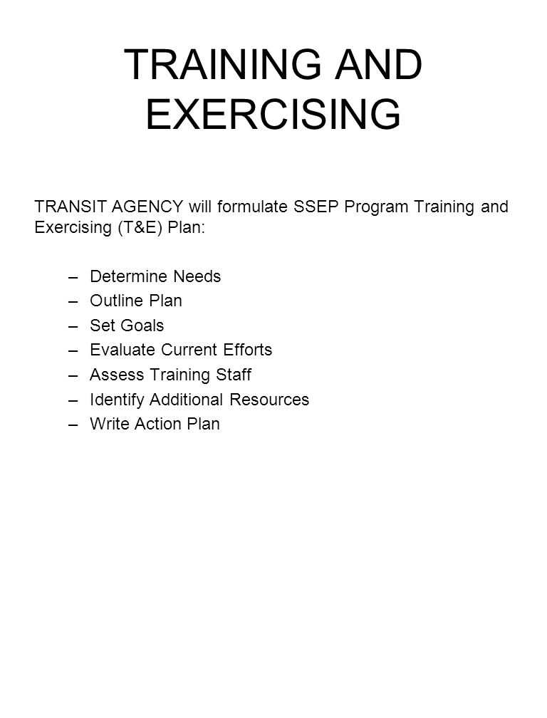 TRAINING AND EXERCISING