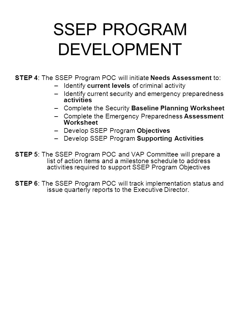 SSEP PROGRAM DEVELOPMENT