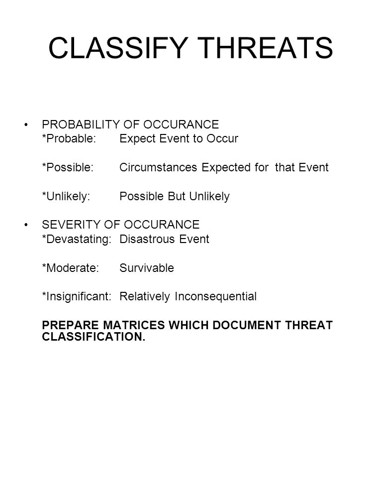 CLASSIFY THREATS PROBABILITY OF OCCURANCE