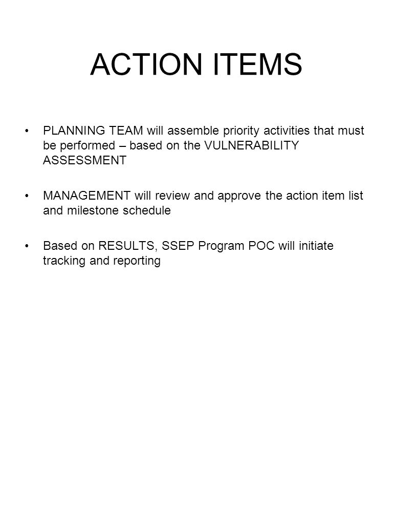 ACTION ITEMS PLANNING TEAM will assemble priority activities that must be performed – based on the VULNERABILITY ASSESSMENT.