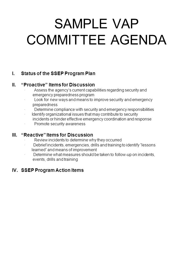 SAMPLE VAP COMMITTEE AGENDA