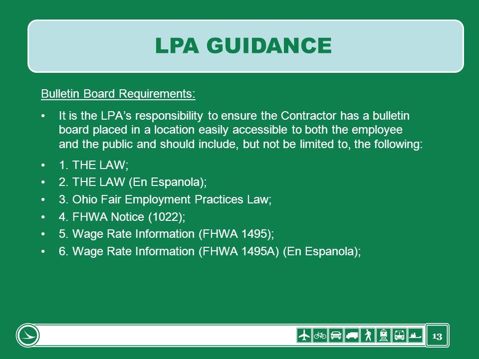 LPA GUIDANCE Bulletin Board Requirements: