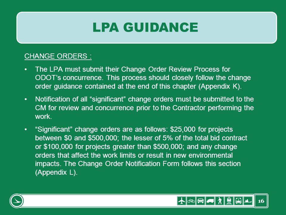 LPA GUIDANCE CHANGE ORDERS :