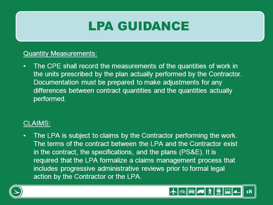 LPA GUIDANCE Quantity Measurements: