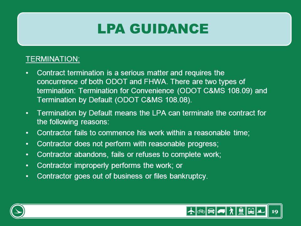 LPA GUIDANCE TERMINATION: